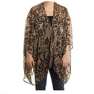 CEJON Sheer One Size Animal Print COVER-UP